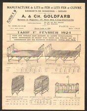 """PARIS (XIII°) USINE de LITS en Fer & en Cuivre """"A. & Ch. GOLDFARB"""" en 1924"""