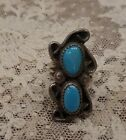 OLD PAWN TURQUOISE STERLING NATIVE AMERICAN RING-SIZE 5 1/2