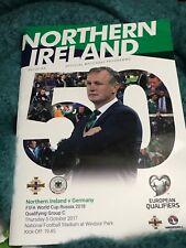 NORTHERN IRELAND  V GERMANY OFFICSL MATCH PROGRAMME 5 OCTOBER 2017