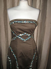 COAST SIZE 10 LADIES LOVELY BROWN EMBROIDERED/SEQUINNED SPECIAL OCCASION DRESS
