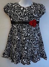 Hanna Andersson Girls 90 2T 3T Dress Black White Holiday
