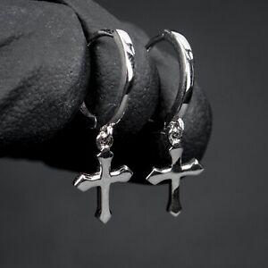 Small Solid Sterling Silver Men Cross Dangle Drop Hanging Huggie Hoop Earrings