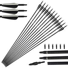 "12X Archery Recurve Arrows Fiberglass Shaft 31"" SP500 Bows Compound Beginner 05"