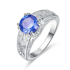 Royal Blue Gift Jewelry For Lover Tanzanite Gemstone Solitare Chic Silver Ring