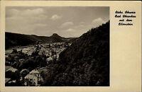 Bad Schandau Sachsen alte DDR Ansichtskarte 1954 Teilansicht mit dem Lilienstein