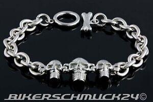 Biker Schmuck Armband 3 Skulls Verschluss in Knochenform Edelstahl Totenkopf NEU