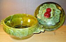 1960's Wade California #727 Avocado Green Apple Lid Casserole Serving Dish Bowl