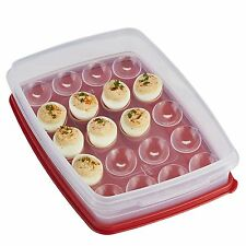 Rubbermaid Deviled Egg Keeper Tray - Food Storage Container, Red. Holds 20 Eggs!