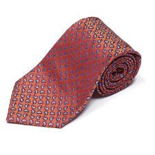 CHARVET Suave Orange Red Blue Paisley Men's Silk Neck Tie