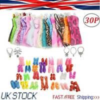 30 Pcs Dolls Set Pieces Barbie Doll Clothes Shoes Dresses Shoes & Hangers Set UK