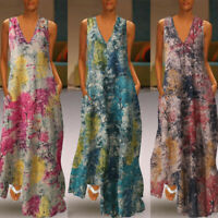 ZANZEA Women V Neck Sleeveless Sundress Long Maxi Dress Floral Print Tank Dress