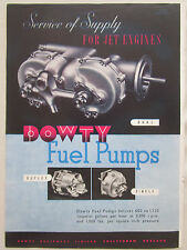 6/1947 PUB DOWTY AIRCRAFT EQUIPMENT FUEL PUMP JET ENGINE ORIGINAL AD