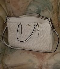 Coach Twisted Gathered Leather Morgan Satchel in Pebble Leather F37083 White NWT