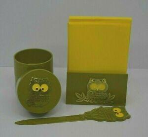 Vintage Avocado Green Owl Desk Set Hallmark 1970's