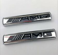 2 x MERCEDES AMG Silver Side Wing badge emblème C E A S SL SLK Class