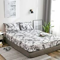 Marble Print Bed Fitted Sheet Mattress Cover Bedsheet with Elastic Band Bedding