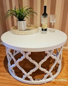 COFFEE TABLE ROUND WOODEN WHITE MOROCCAN DESIGN