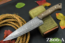 Custom San Mai Damascus Steel Chef Knife Handmade With Walnut Handle (Z806-A)