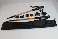 Two Trekking Walking Hiking Sticks Poles Alpenstock anti-shock Snowshoe Gold