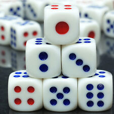 20Pcs White Dice with Red&Blue Dots Club Bar Party Play Games Entertainment Tool
