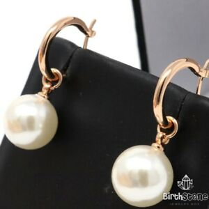 Vintage Pearls Earrings Women Anniversary Jewelry Gift 14K Rose Gold Plated