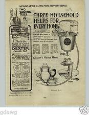 1924 PAPER AD Dexter Wood Washing Tub Machine Electrotypes Art Work Newspaper