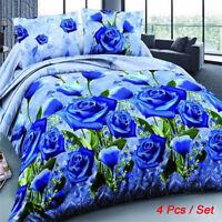 4Pcs Set 3D Brushed Printed Duvet / Quilt Cover Pillowcase Bedding King Size US