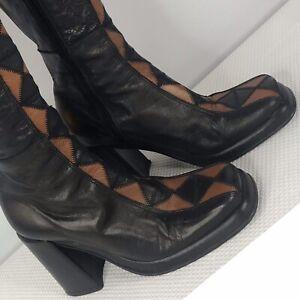 Vintage 90s Does 60s El Dantes Black Camel Leather Diamond Platform Boots Size 5