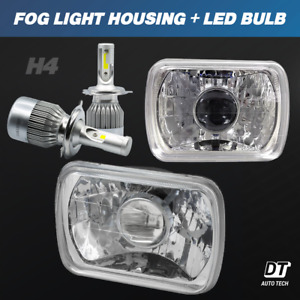 "7""X6"" inch Projector Sealed Beam Headlight Conversion Clear Lens + H4 CREE LED"