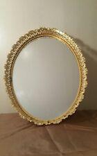 "Oval 17"" Mirrored Vanity Tray Brass Openwork Scrolls,Latticework & Cornucopias"