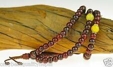 Mala Rosewood Necklet Necklace Nepal Citrine Rosario Bracelet 79C