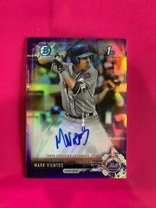 2017 Bowman Chrome Purple Refractor Mark Vientos Auto Rookie! Mets! #059/250