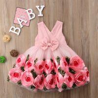 Toddler Kids Baby Girls Princess Dress Floral Pageant Wedding Party Tutu Dresses