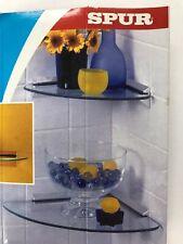 SPUR CORNER GLASS SHELF BRACKETS CHROME SLOT SHELF MOUNT SET OF 2