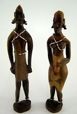 Afrikanische Holzfiguren Mann und Frau - Handarbeit ca. 28,5 & 27,5 cm