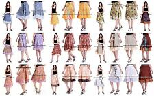 30 PC Wholesale Lot Indian Skirt Women Wrap Around Rapron Silk Skirt Short Skirt