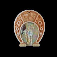 Carved MOP Horse Horseshoe Bead HC011061