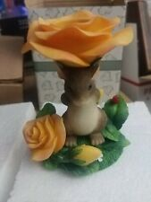 Fitz & Floyd Charming Tails 93/202 Floral Candleholder with Mackenzie figurine.