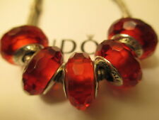 5 Pandora Silver 925 Ale Fascinating Red Murano Glass Beads Charms Christmas Mix