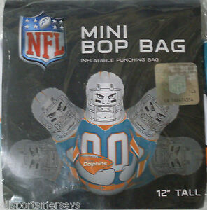 NFL Miami Dolphins 12 inch Inflatable Mini Bop Bag by Fremont Die