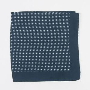 "Eton New Navy Blue White Small Dot 100% Silk Pocket Square 15"" Made in Italy"