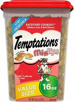 TEMPTATIONS MixUps Crunchy and Soft Cat Treats, Chicken, Liver, Beef 16 ouces