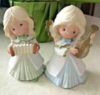 HOMCO /Home Interiors Ceramic Music 2 Angel Girl Figurines # 5504 Vintage