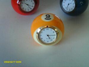 Handmade Billiard Ball Desk Clock 9-Ball  Black/Silver/Gold - Unique Gift!