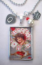 Queen of Heart Necklace Valentines Day Jewelry Handmade Vintage Charm Reversible