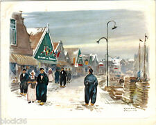 Folding postcard SCENE IN DUTCH TOWN Reproduction of painting by Ronald Fryling
