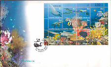 Nice Large FDC Thailand Ocean Animals Full sheet of stamps 2001 Marine Life fish