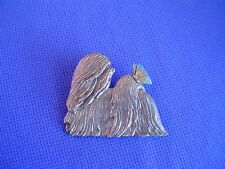 Lhasa Apso with Butterfly Pin #25D Pewter dog jewelry by Cindy A. Conter