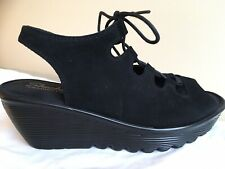 SKECHERS Women's 8.5 black suede lace up cut out wedge Platform Peep Toe Shoes