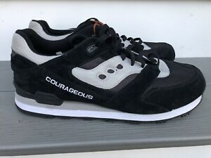 Saucony Courageous Vintage Suede Trainers Shoes Mens Size 13 Grey White Black